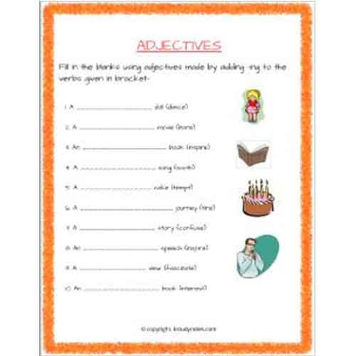 english grammar adjectives worksheets for grade 2