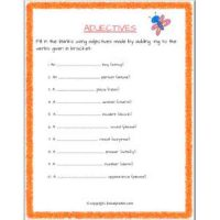 english grammar adjectives worksheets for class 2