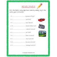 english grammar ing adjectives worksheets for grade 2