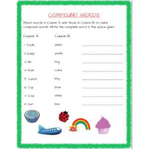 english grammar compund words worksheets for std 2