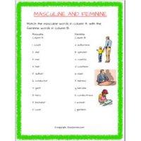 english grammar noun gender worksheets for class 2