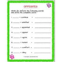 english grammar opposites using dis worksheets for std 2