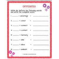 english grammar opposites using dis worksheets for class 2