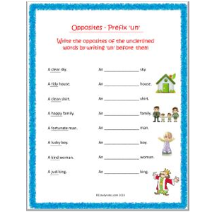 english grammar opposites using un worksheets for grade 2 ...