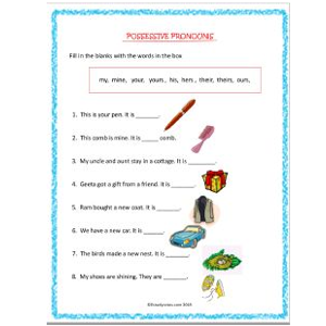 english grammar possessive pronouns worksheets for grade 2