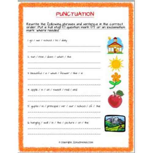 english punctuation and sequence worksheet 3 grade 2 estudynotes. Black Bedroom Furniture Sets. Home Design Ideas