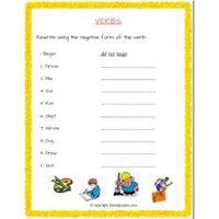 english grammar verbs worksheets for class 2