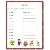 english grammar verbs worksheets for std 2