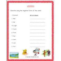 english grammar action words worksheets for grade 2
