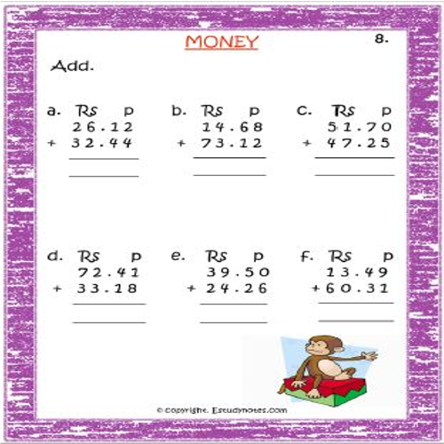 maths adding money worksheets for grade 2