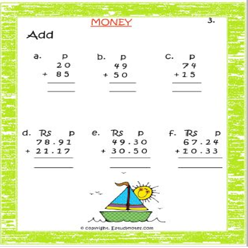 maths adding money worksheets for std 2