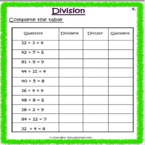maths division worksheets for class 3