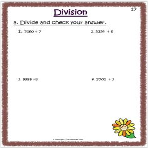 maths division worksheets for std 3