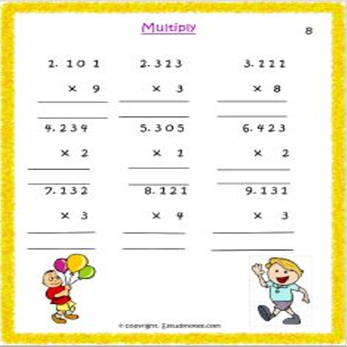 maths multiplication worksheets for std 3