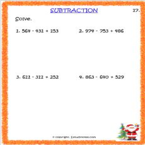 maths subtraction worksheets for grade 3