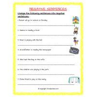 negative sentences English worksheets for grade 2