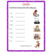verbs worksheets for grade 2
