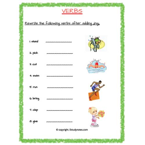 verbs worksheets for grade 2