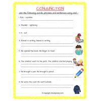 conjunction worksheets for grade 2
