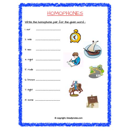 homophones worksheets for grade 2
