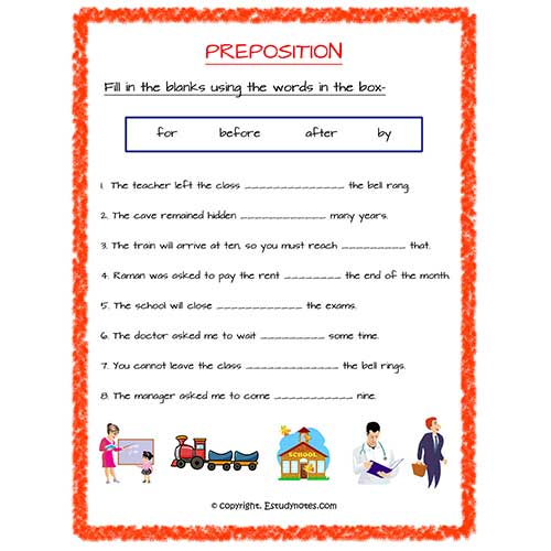 English Prepsition Of Time Fill In The Blanks Worksheet 2