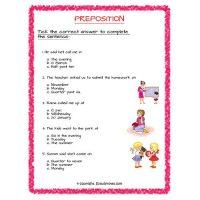 Preposition worksheets for grade 2