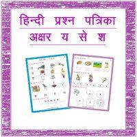 Hindi Test Paper Hindi Akshar 26-30 Kindergarten 2
