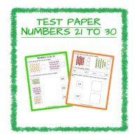 Maths Test Paper-Numbers 21-30 Kindergarten 2
