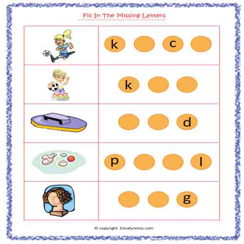 English vowel worksheets for kindergarten