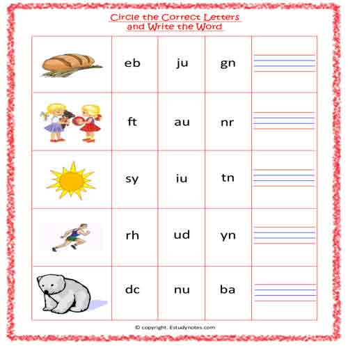 English Vowel U CIRCLE THE CORRECT LETTERS AND WRITE THE